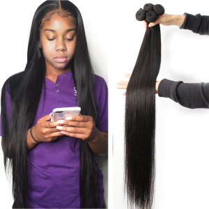 Fashow 30 32 34 36 40 inch Indian Hair Straight Hair Bundles 100% Natural Human Hair 1 3 4 Bundles Double Wefts Thick Remy Hair(China)