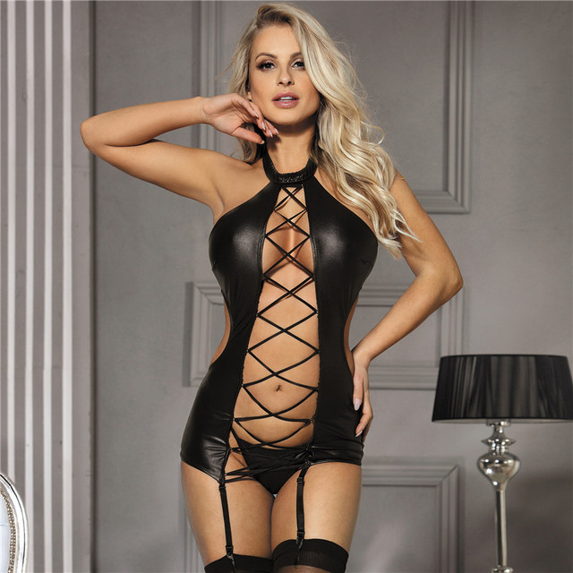 Erotic Faux Leather Lingerie Bandage Backless Bustier Plus Size #F1630 2