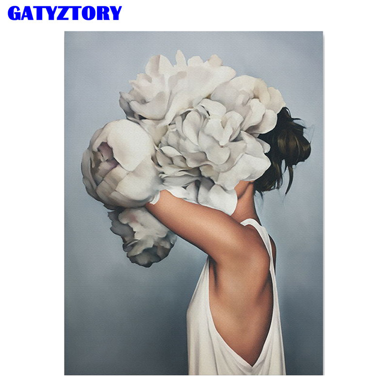 GATYZTORY Frame Figure Picture Diy Paint By Numbers Kit Flowers Women Canvas By Numbers Acrylic Wall Art Picture For Home Decors