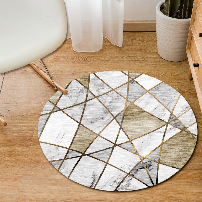 Nordic Round Carpet Living Room Geometric Round Rug Home Decor Bedroom Carpet Computer Chair Floor Mat Entrance/Hallway Doormat