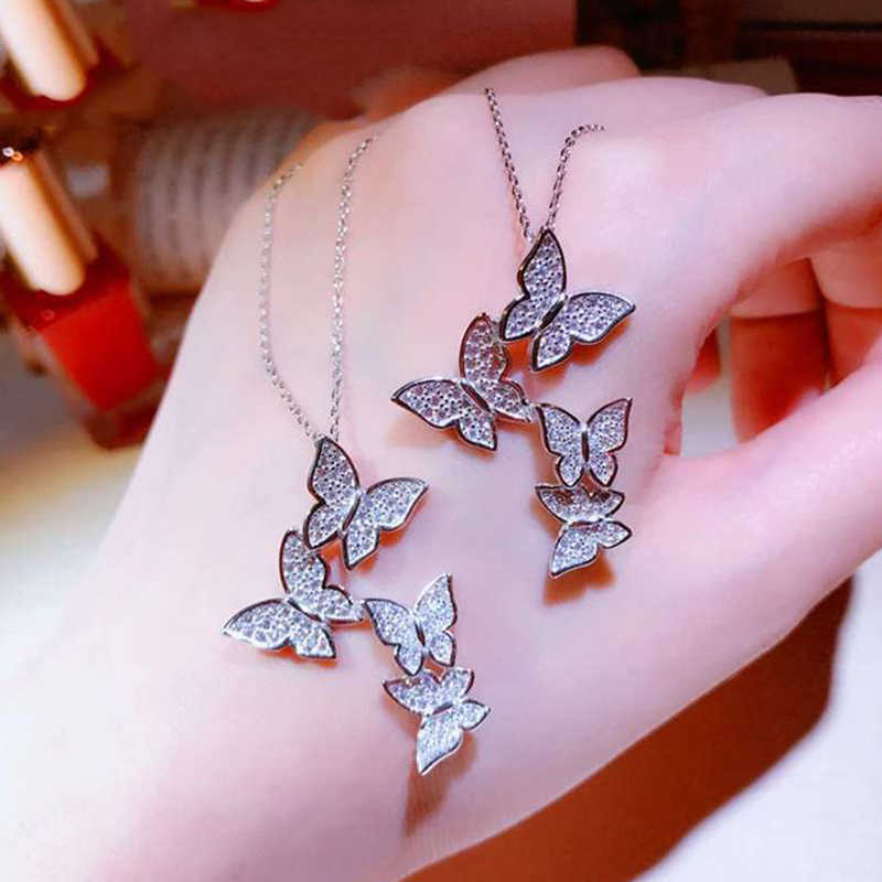 Beiver Dazzling Micro Zircon Butterfly Ring & Pendants for Women Minimalist Animal Butterfly Ring Wedding Party Jewelry Gift