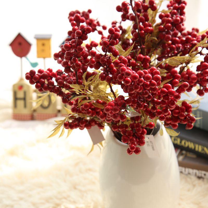 Осеннее украшение, Рождественская красная пена, ручной Букет из ягод и бобов, искусственный цветок, искусственные цветы, украшения для дома