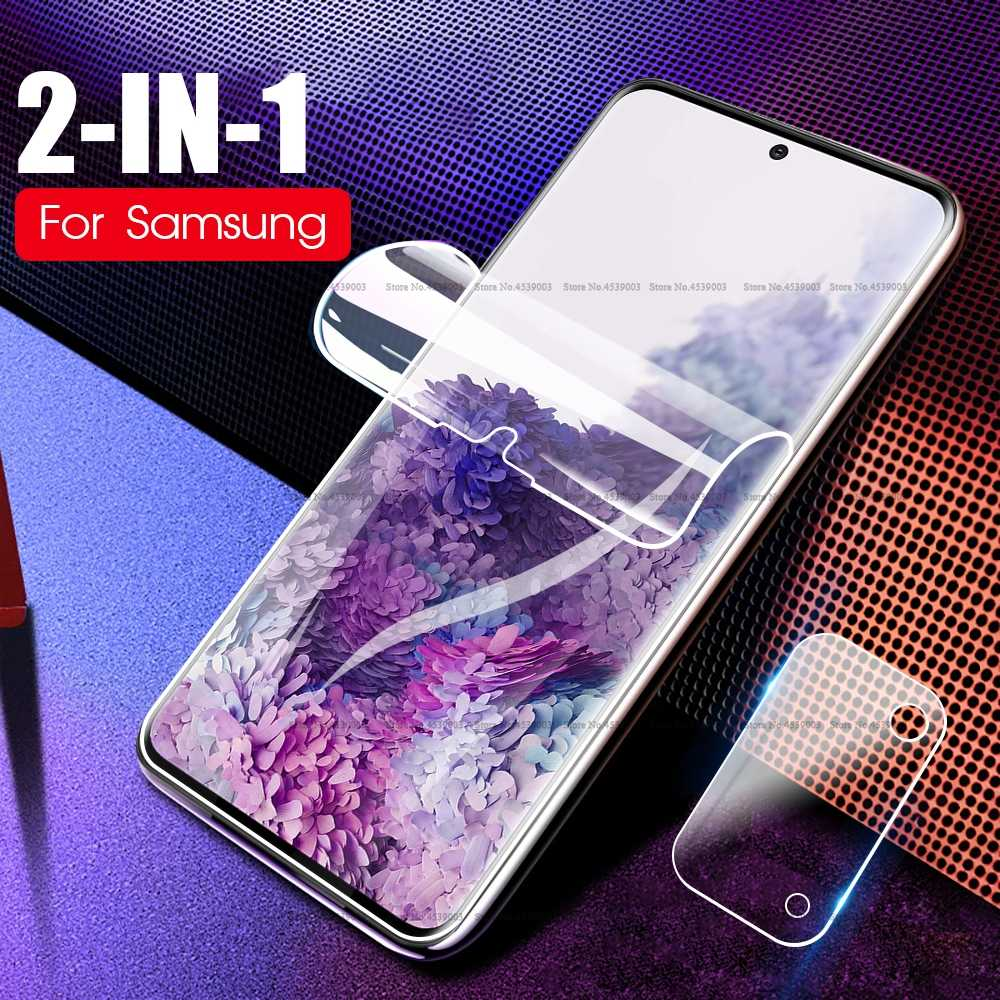2 In 1 Hydrogel Film + Clear Camera Film Voor Samsung Galaxy S20 Plus A51 A71 S20 Ultra A10 A20 a30 A40 A60 A50 S Zachte Voorkant Film