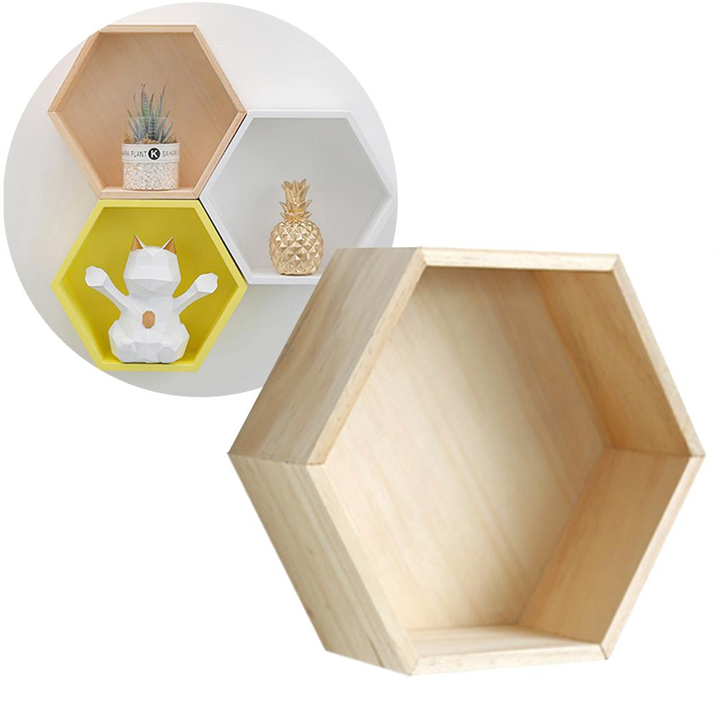 Nordic Style Home Office Decor Wall Mount Wood Hexagonal Frame Books Toys Storage Shelf Rack Holder For Home Child Bedroom Decor