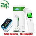 Пульсоксиметр на кончик пальца, прибор для измерения пульса и уровня кислорода в крови, инфракрасный термометр для лба, забота о здоровье