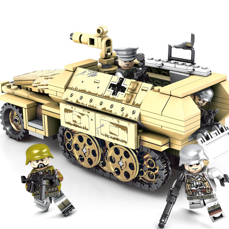 Compatible Legoinglys WW2 German Armored Vehicle Block Set Military World War Army Model Toy For Kids 559pcs Armored Car