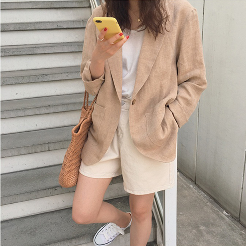 Cotton Linen Blazer Women Spring Autumn Korean Blazers And Jackets Casual Jacket Oversized Coat Vintage British Style Loose 2019
