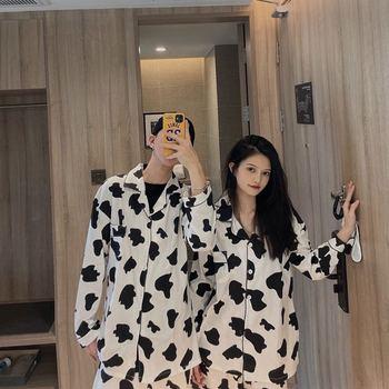 Par de Pijamas de algodón con estampado de puntos de vaca, ropa bonita para el hogar para Mujer, Pijamas de Invierno, ropa de dormir, conjunto de pijama para Mujer