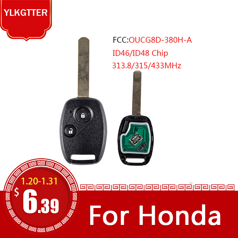 YLKGTTER 2Buttons <font><b>Remote</b></font> Keyless Entry Car <font><b>Key</b></font> Fob for <font><b>Honda</b></font> Civic CRV <font><b>Jazz</b></font> HRV with 433/315MHz ID46/ID48 Chip FCC OUCG8D-380H-A image