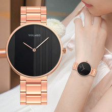Fashion Wanita Watch Mewah Stainless Steel Bergaris Warna Dial Wrist Watch Mawar Emas Wanita Kuarsa Bisnis Clock Relogio Femino(China)