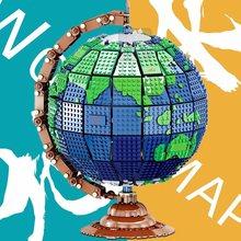 MOC Креативная идея серия вращающийся глобус модель строительные блоки земли развивающие сборные Блоки Кирпичи Детские игрушки рождественс...