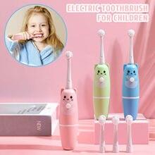 Bateria elétrica inteligente u-tipo escova de dentes elétrica das crianças à prova dwaterproof água estudante 3-16years old adorável animal bonito