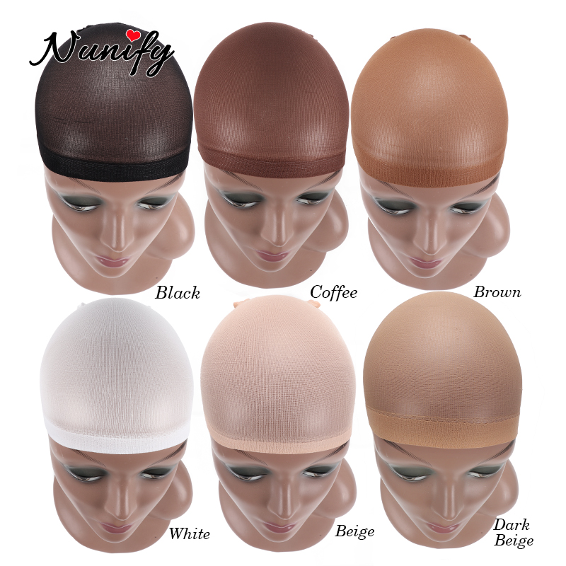 Nunify Deluxe Stocking Wig Cap Thin Breathable Wig Caps 2Pcs/Pack Dome Mesh Cap Black Brown Skin Color Hairnets Nylon Hair Net