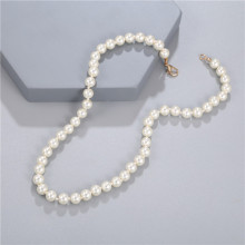 Elegant White Imitation Pearl Necklace Long Round Pearl Wedding Choker Necklace for Women Charm Fashion Jewelry