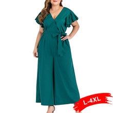 Темно-зеленый комбинезон размера плюс с галстуком-бабочкой и v-образным вырезом, 4Xl, летний мыс с рукавом, повседневный комбинезон, женские широкие длинные штаны, комбинезоны