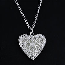 1 Pc Heart Shaped Friend Photo Picture Frame Locket Pendant for Necklace Romantic Luminous at night Fashion Jewelry(China)