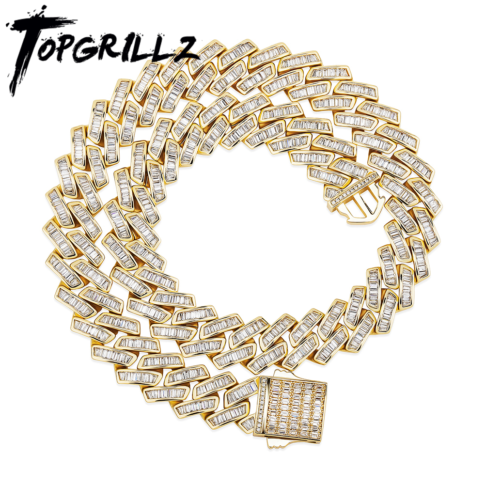 TOPGRILLZ 18mm Baguette Prong Cuban Link Necklace CZ Iced Out Chain Hip Hop Fashion Luxury Bling White Gold Chain For Gift