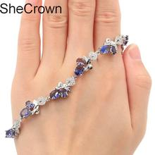 23x11mm 12.7g Deluxe Created Purple Spinel Womans Wedding Silver Bracelet 7.0-8.0