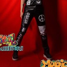 Patchwork PU Leather Pant Men Pattern Erkek Pantolon Singer Men Stage Show Hip Hop Men  Gothic PunkTrousers Men Pantaloni Uomo