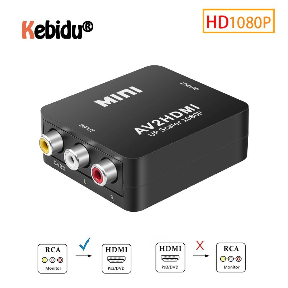 Adaptador de áudio full hd macho para fêmea, conversor de áudio av para hdmi, composto cvbs para hdmi av2hdmi