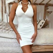 2021 Summer Elegant Sexy Bodycon Mini Dresses Women Halter Neck Backless Beach White Party Dress Sleeveless Vestidos Clubwear
