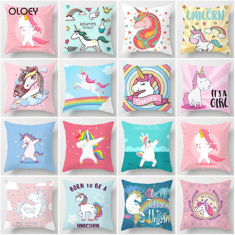 Unicorn Case Bohemian Polyester Household Soft Cushion Decorative Cover Home Hotel Bed Car Seat Decorative Back Cushion Cover  .