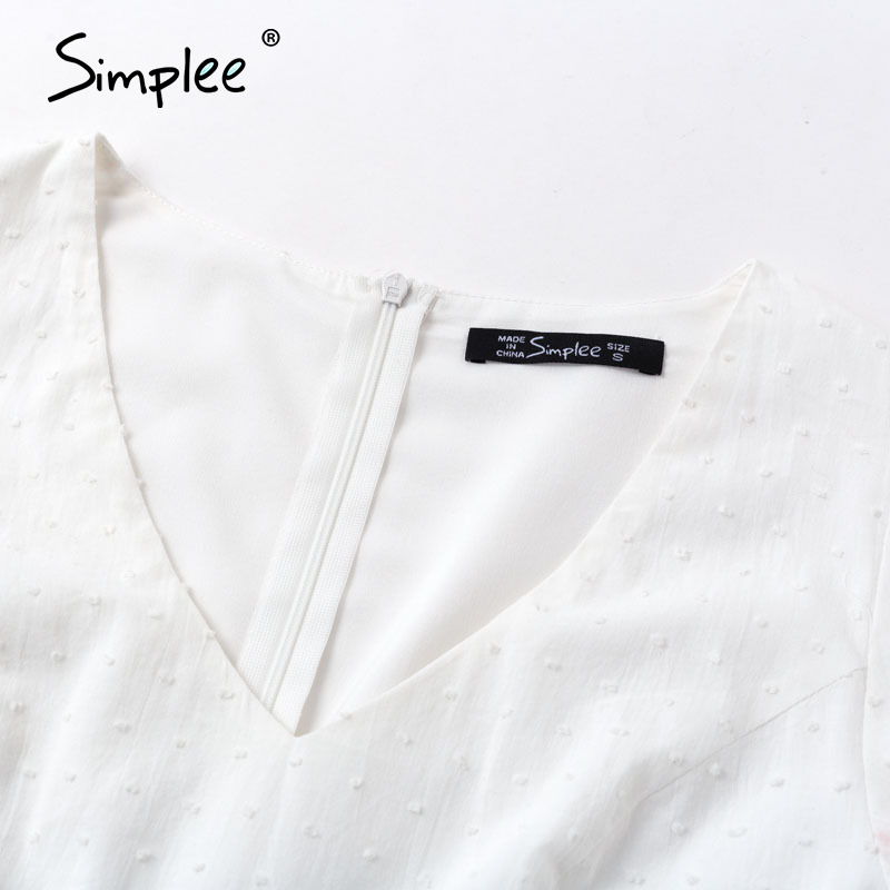 Image 5 - Simplee Women hollow out white dress Puff sleeve ruffled v neck bodycon dress Casual buttons beach work party retro summer dressDresses   -