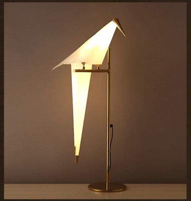 Postmodern White Paper Crane LED Floor Lamps Gold Stand Lighting PVC Desk Lamp for Living Room Bedroom Restaurant