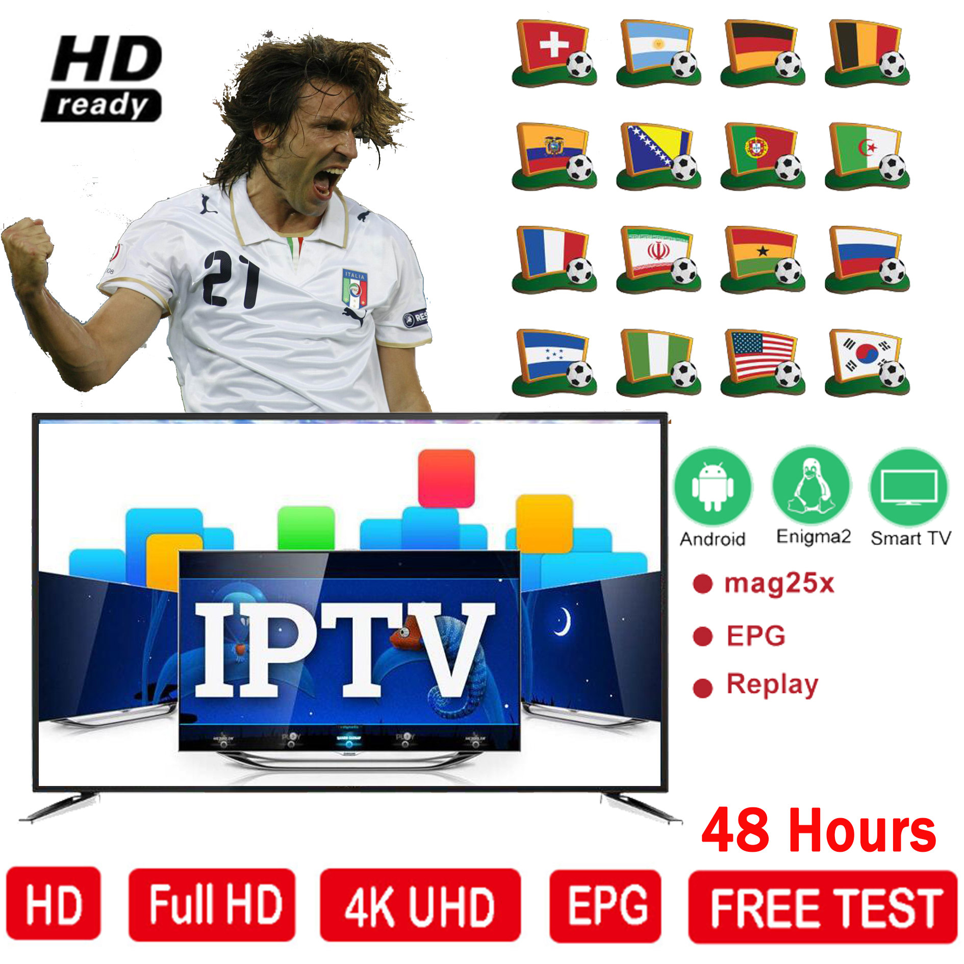 Free Test/12 Months Europe IPTV Subscription Code France UK German Arabic Sweden French Poland Canada USA Smarttv Box IPTV M3u