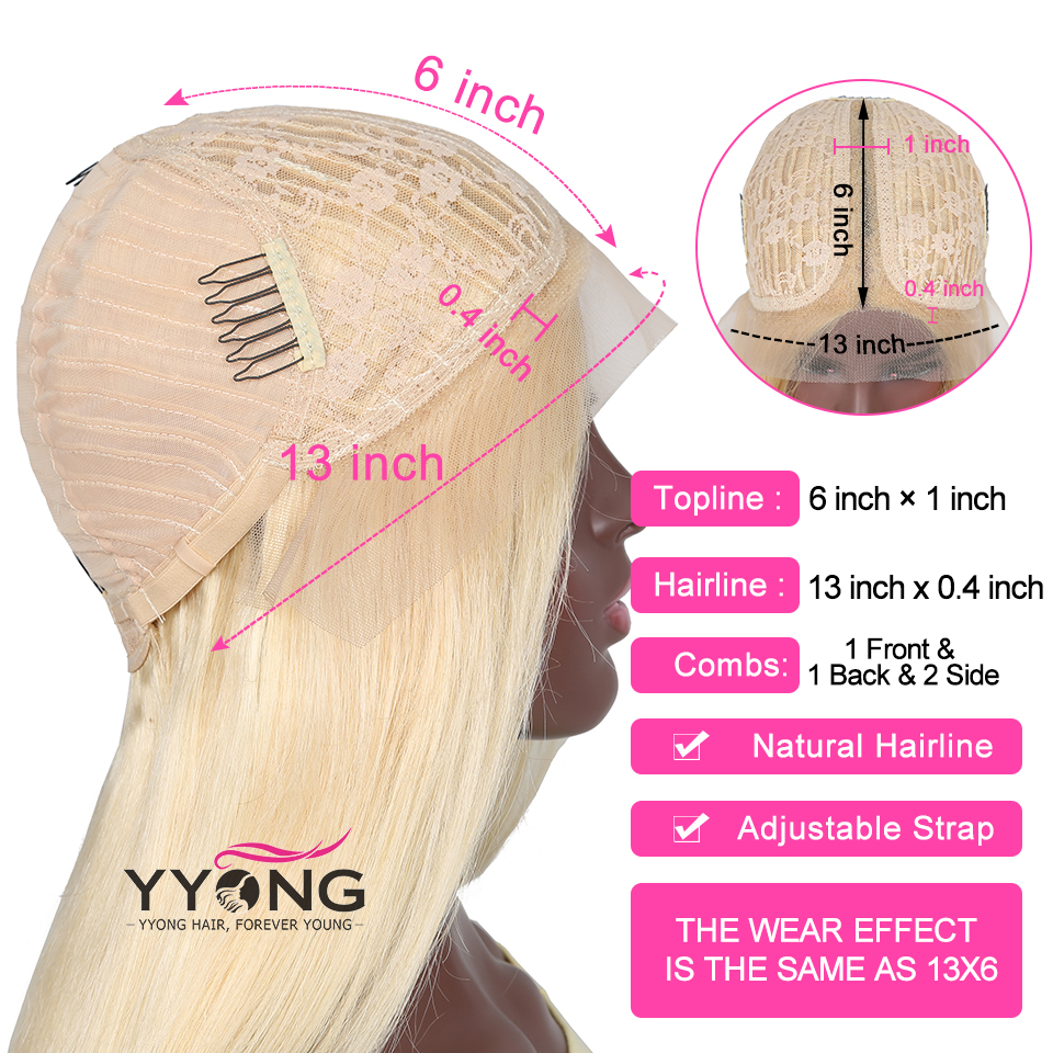 YYong 6x1 Topline Blond 613 Lace Part  Wig Pre Plucked With Baby Hair Body Wave  HD Transparent Lace Part Wig 30in 4