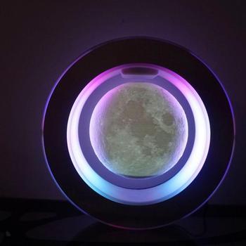 O kształt Home Decor księżyc elektroniczna lewitacja magnetyczna pływające planety Fengshui astronomia dekoracyjna dla każdego domu lub biura tanie i dobre opinie Z tworzywa sztucznego O Shape Levitating Moon Black Levitating Moon 20*20*5CM Diameter 3 4 6 inch LED Multicolor Lights