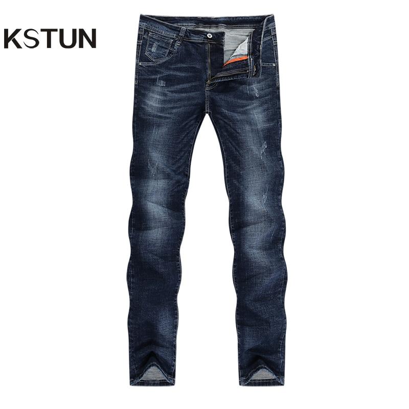 Men Jeans Brand 2019 Winter Dark Blue Stretch Slim Straight Business Casual Regular Fit Fashion Pockets Men's Long Trousers