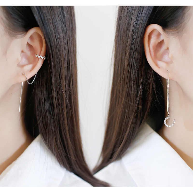 DAIWUJAN 1 Pairs 925 Sterling Silver klips do ucha długie Tassel kolczyki dla kobiet cyrkon ucha nausznica linia uszna biżuteria