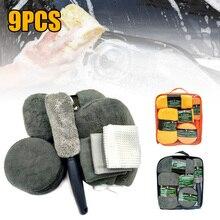 9Pcs Car Cleaning Kit Microfiber Car Wash Towel Super Absorbent Detailing Waxing Pads Tire Brush Cleaning Sponge