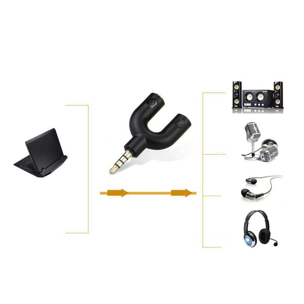 A Forma di U 3.5mm Adattatore di Auricolare Del Computer Auricolare Coppia Audio Splitter Maschio A 2 Femmina Adattatore Stereo Per Smartphone