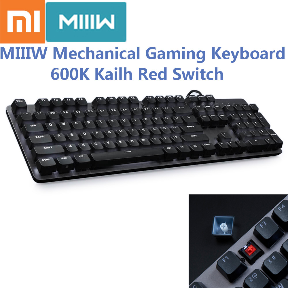 Hot  Xiaomi MIIIW 600K Mechanical Gaming Keyboard Backlit 104 Key Kailh Red Switch 6 Mode Backlight USB Wired Keyboard For Gamer
