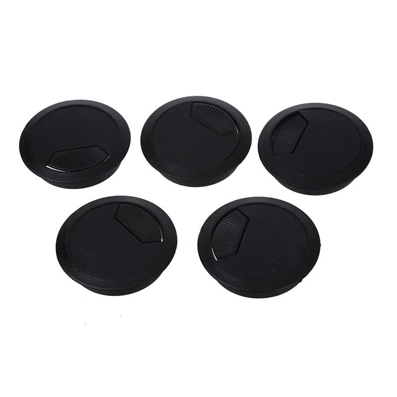 New  5 Pcs Home Office Desk Table Computer 60mm Cable Cord Grommet Hole Black