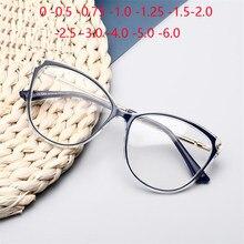 Gafas de miopía para mujer, anteojos para miopía antirayos azules, gafas de ojos de gato acabadas, gafas de vista cortas con prescripción Okulary Korekcyjne, de 0 a 0,5-0,75 a 6,0