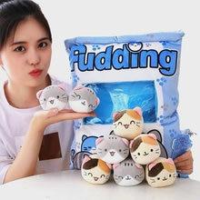 8 adet mini mavi kedi peluş oyuncaklar bir çanta içinde yastık benzersiz puding atmak yastık kız arkadaşı için kanepe dekoru bel yastığı oyuncaklar onun