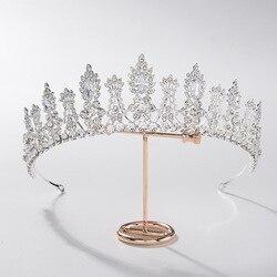 Baroque Luxury Crystal Leaf Bridal Tiaras CZ Crowns Rhinestone Diadem Pageant Prom Crown Bride Headband Wedding Hair Accessories
