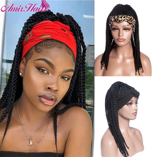 Amir High Puff African Turban Ponytail Afro Synthetic Box Braids Headwrap Drawstring Wrap-Ponytail Headband Wigs for Woman