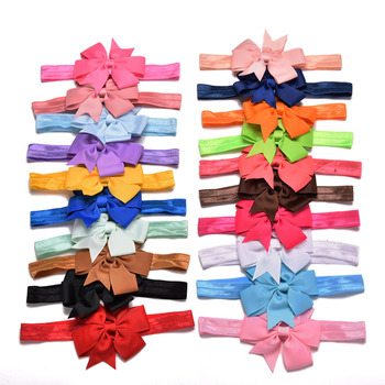 20pcs/lot Girl Hair Bow Headband DIY Grosgrain Ribbon Elastic Bands For Newborn Infant Toddler Accessories