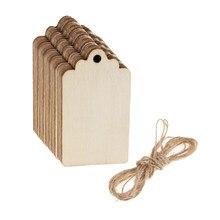 50 sztuk niedokończone drewniane znaczniki drewniane prezenty tagi puste wiszące tablica na wino dekoracja butelki ozdoby ślubne 68x39mm