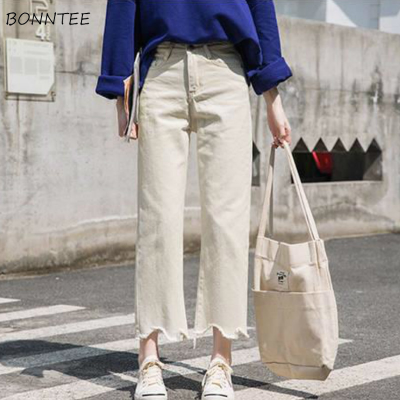 Jeans Womens Vintage Pockets Chic Simple High Waist Retro Korean Style Solid Straight Streetwear Comfortable All-match Leisure