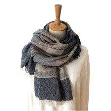 Новинка, японский стиль унисекс, зимний шарф из хлопка и льна, однотонные длинные женские шарфы, шаль в клетку, мужской шарф