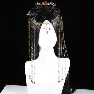 Ручная работа кисточки шпилька боковая занавеска Передняя брови осень позолоченный Китайский cheongsam платье аксессуары для волос древность