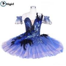 girls bluebird professional tutu women blue swan lake performance dance dress ballet costume adult BT9240