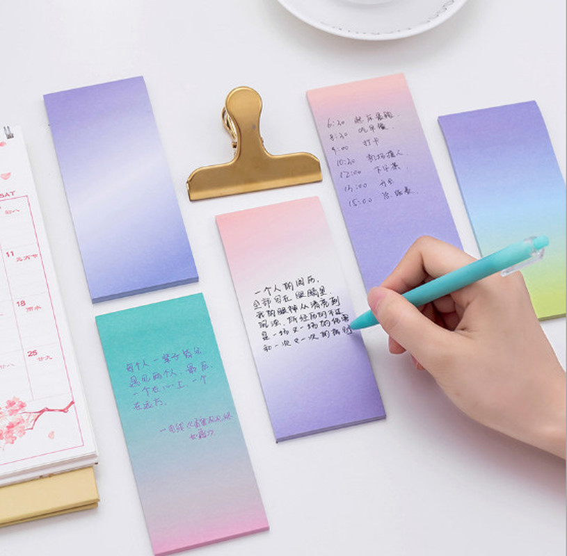 Rainbow Memo Pads Decoration Stickers Self-Adhesive Stationery Sticky Note SE,