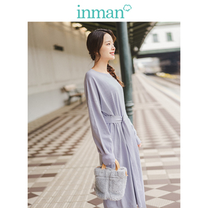 Image 2 - INMAN Spring Autumn O neck Drop shoulder Sleeve Solid Loose Casual With Belt Women Jersey Dress