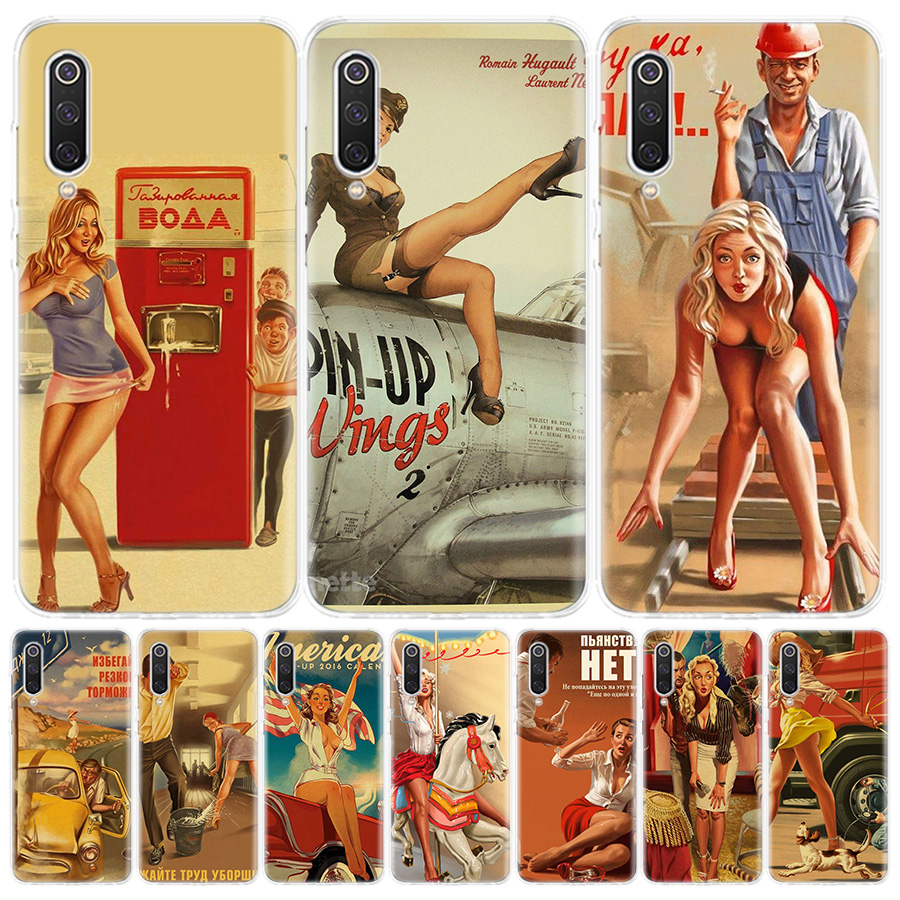 WW2 Sexy Pin up Girl Vintege Phone Case for Xiaomi Redmi Note 9 8 7 8A 7 7A 6A S2 K20 K30 8T 9S MI 9 8 CC9 F1 Pro Fashion Cover
